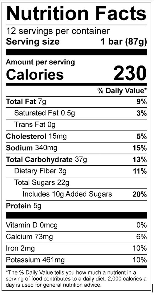 Mystery B Bars Food Nutrition Facts Label; Click on this image for complete nutrition information