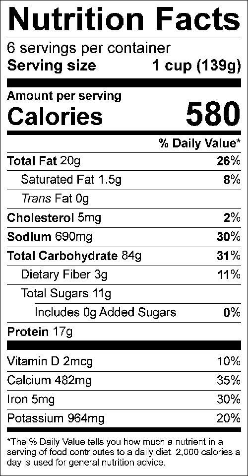 6-Cup Yield Convenience Mix Food Nutrition Facts Label: ; Click on this image for complete nutrition information