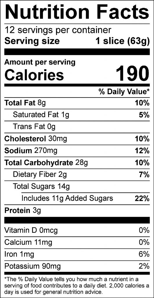 Banana Oatmeal Bread Food Nutrition Facts Label; Click on this image for complete nutrition information