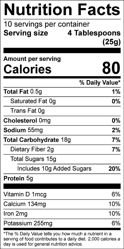 Hot Cocoa Convenience Mix Label: Click on image for the full nutrition facts panel