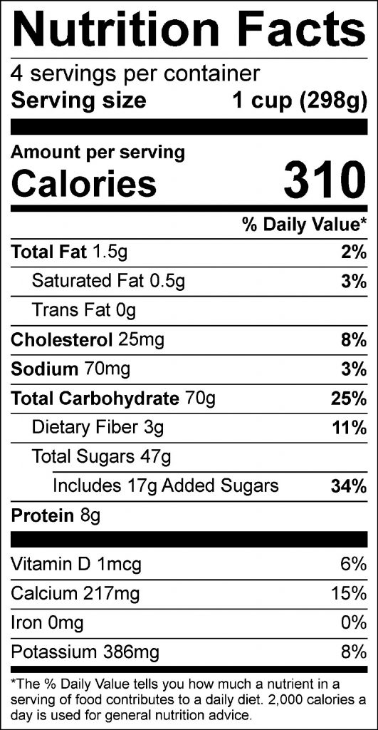 Creamy Blueberry Shake Food Nutrition Facts Label: Click on this image for complete nutrition information