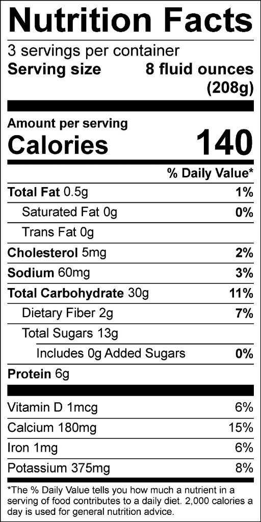 Oatmeal, Strawberry, Banana Smoothie Nutrition Facts Label: Click on this image for complete nutrition information