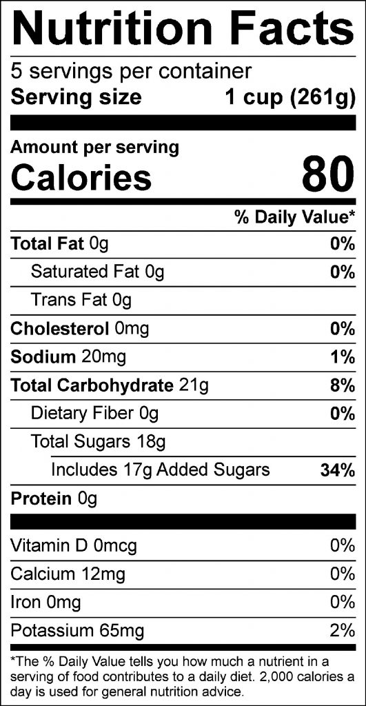 Honey-Sweetened Lemonade Food Nutrition Facts Label: Click on this image for complete nutrition information