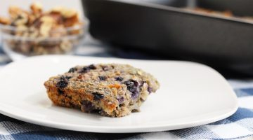 Baked oatmeal on a white plate