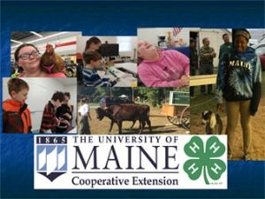 UMaine Cooperative Extension 4H photo collage showing various youth members and the Cooperative Extension 4H logo