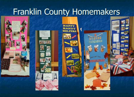 a collage graphic showing various exhibits of the work that Franklin county homemakers do