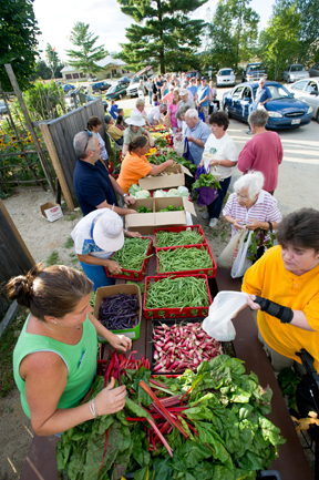 Volunteers distribute fresh produce to hungry Mainers; photo by Edwin Remsberg