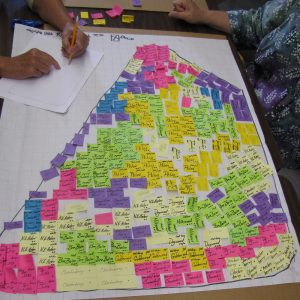 Master Gardener Volunteers laid out their rain garden plan with colored sticky notes