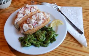 cooked fiddleheads and lobster rolls