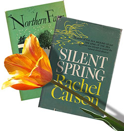 Books Northern Farm and Silent Spring (by Rachel Carson) and a tulip