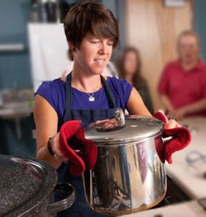 Kate McCarty with pressure cooker