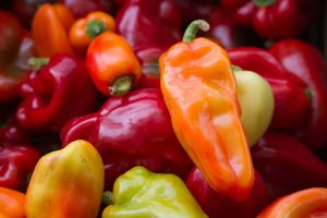 assortment of picked hot and sweet peppers.
