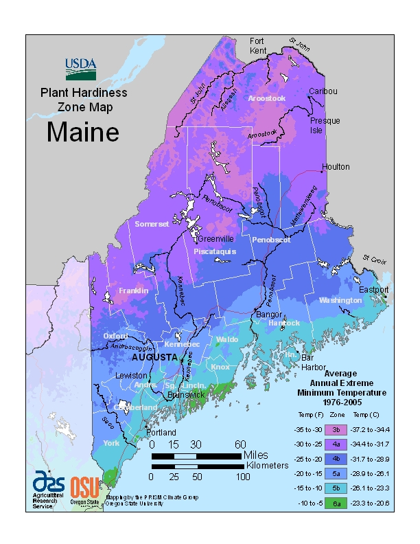 USDA plant hardiness zone map for Maine