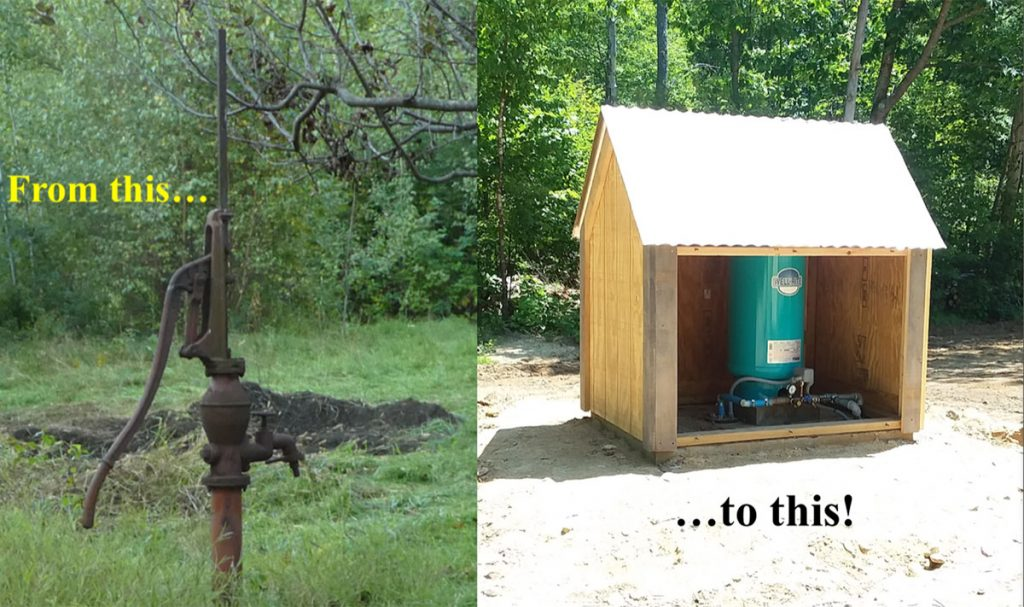 From this (old hand water pump) to this (new covered pump)