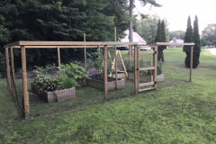 The use of matching wood for these keyhole-shaped raised beds, fence, and trellis keep this vegetable garden looking tidy and the drip irrigation system saves water and labor.