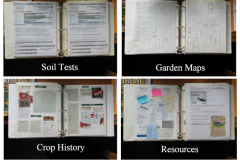 This highly-organized gardener has sections in their garden binder for soil tests, maps for crop rotation, crop history, and resources.