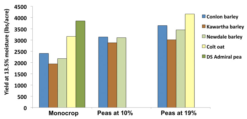 Yield of the monocrop cereals, field peas and cereal/pea mixtures; y = Yield at 13.5% moisture (lbs/acre) 0 - 4500 x = Monocrop with conlon barley; Kawartha barley; newdale barley; colt oat; ds admiral pea
