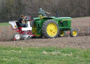 Image 1. Planting the Alburgh spring wheat trial.