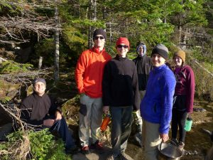 Teen Leadership group picture in the woods