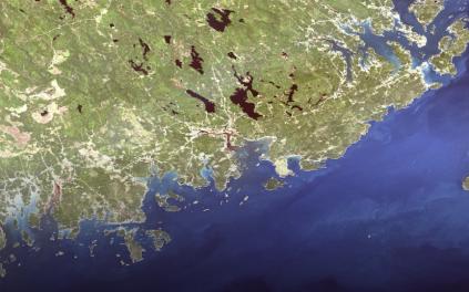 satellite photo of the Maine coast