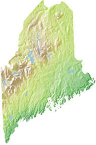 relief map of Maine