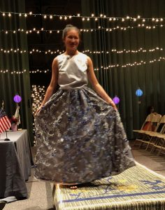 4-H Youth on runway in homemade prom dress