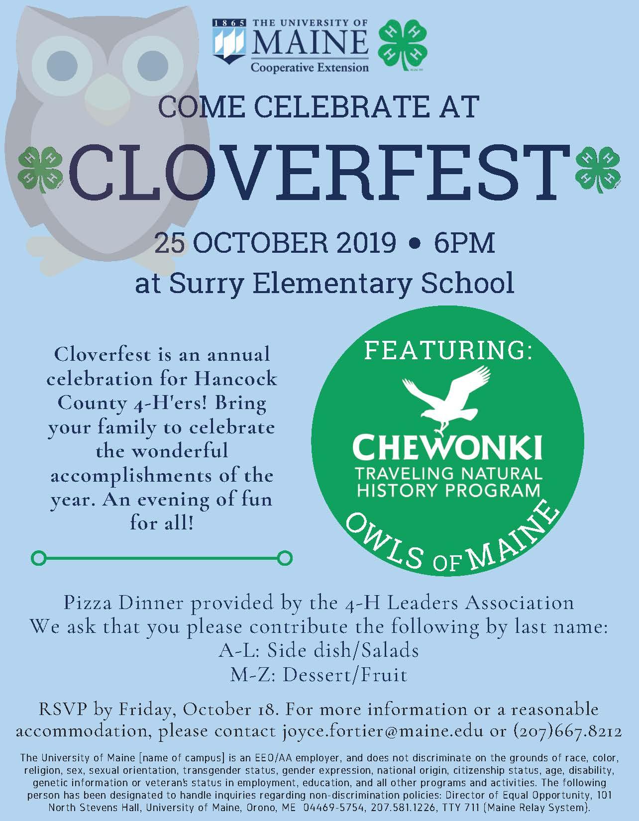 2019 CLOVERFEST Info Flyer