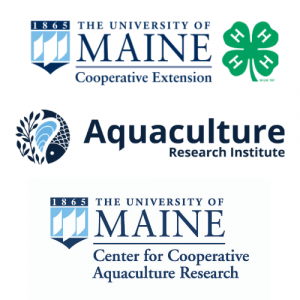 Logos for UMaine 4-H, UMaine Center for Cooperative Aquaculture Research, and Aquaculture Research Institute