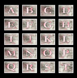 Photo of a grid of the letters of the alphabet, from A to T