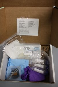 Plant ID Box containing Submission Form, Gloves, Sterile Underpads, Kimwipes, Sterile Tweezer(s), Petri Dish(es), Sterile DI Water Tubes, Razor Blade(s), Plastic Dish(es), Screen Mesh, Sealed Plastic Bag, and Alcohol Wipes(s)