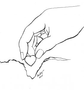 Hand planting heart image from connie