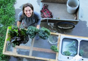 Hannah Court of Wandering Root Farm in Wiscasset with fresh produce