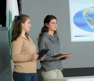 Two 4-H members giving a presentation at the Knox-Lincoln Public Speaking Tournament.
