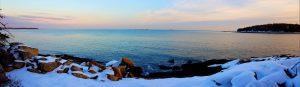 Sunset at Ash Point, Owl's Head, Maine in the winter
