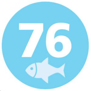 graphic containing #76 and a fish