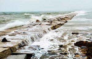 Rockland Breakwater at high tide