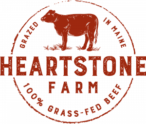 Heartstone Farm logo: Grazed in Maine, 100% Grass-fed Beef