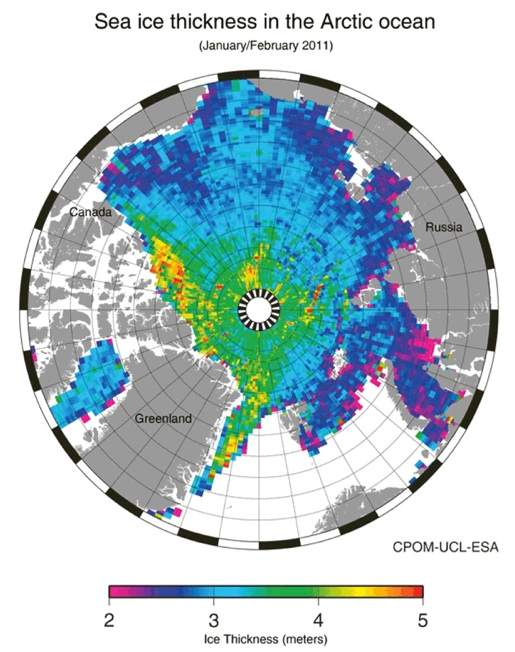 map of sea ice thickness in the Arctic ocean