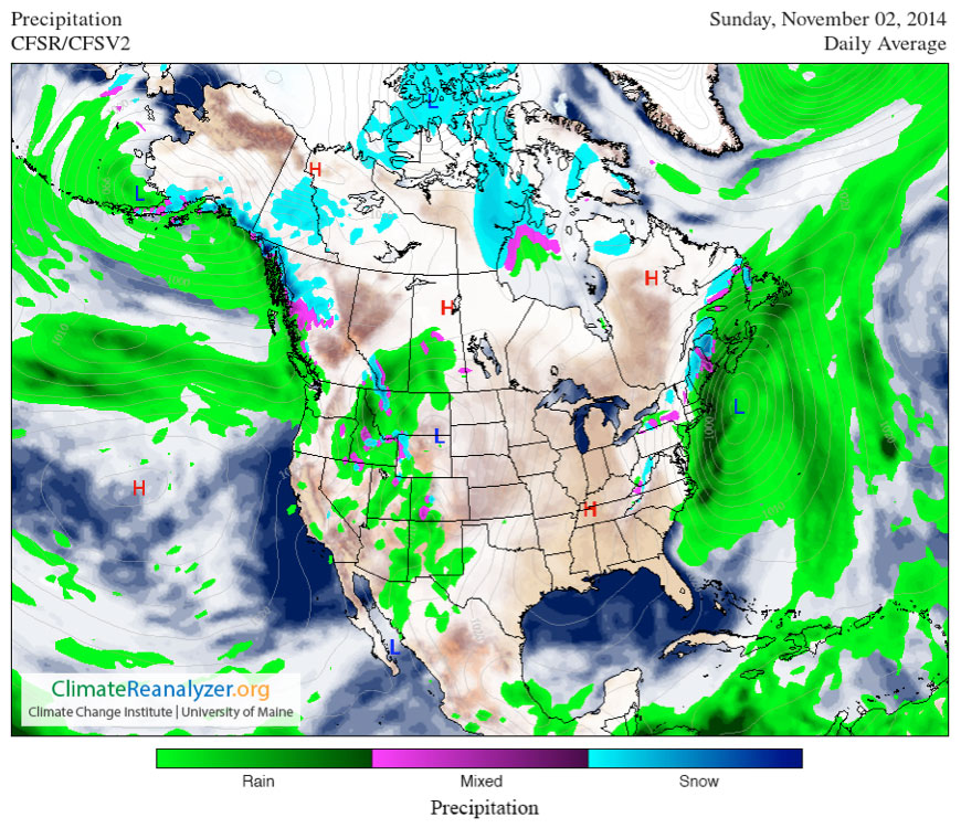 Map of North America showing the daily average of precipitation (rain, mixed, and snow) for Sunday, November 2, 2014; Climate Reanalyzer.org, Climate Change Institute, University of Maine