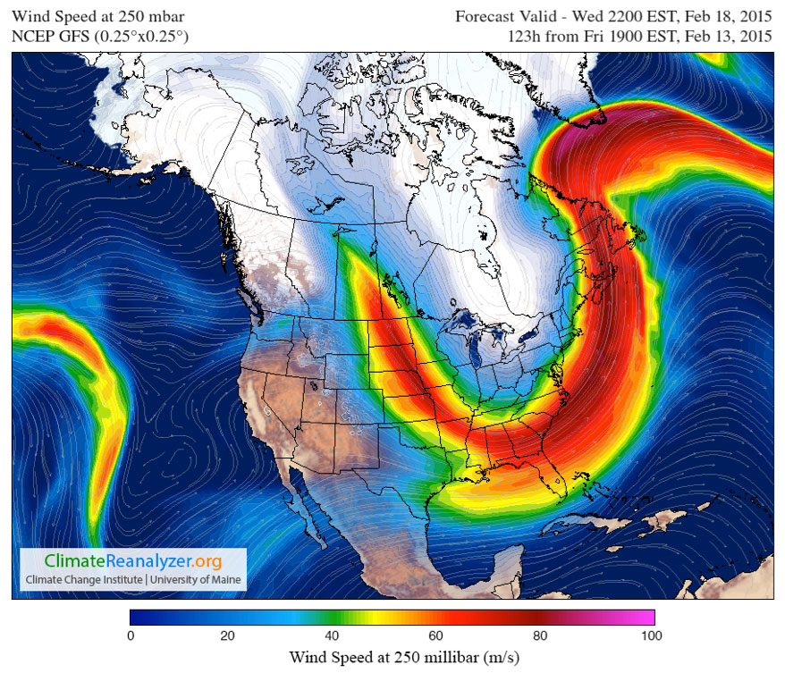 Map showing typical ridge-trough wave pattern of the jetstream from east to west across North America for the 2014-2015 winter season, exemplified here in a February 18th forecast.