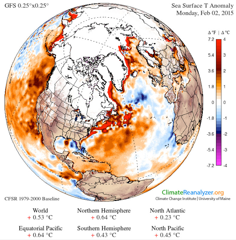 Map of the world showing sea-surface temperature anomalies for February 2nd, 2015.