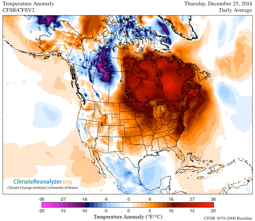Map of daily temperature departure from average (or anomaly) across North America for Thursday, December 25, 2014.