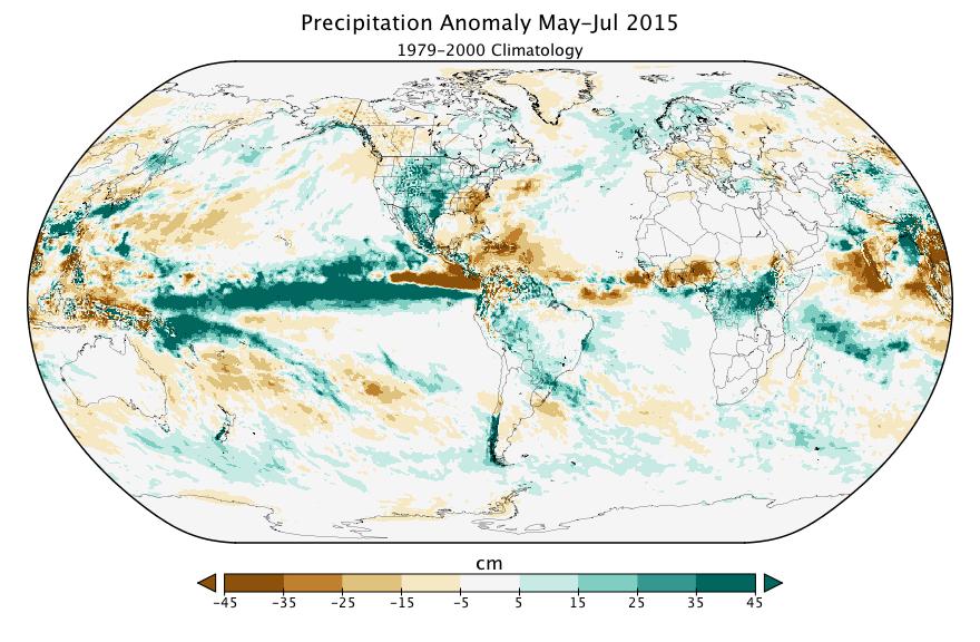 Figure 2b. Precipitation Anomoly May-July 2015 (1979-2000 Climatology)