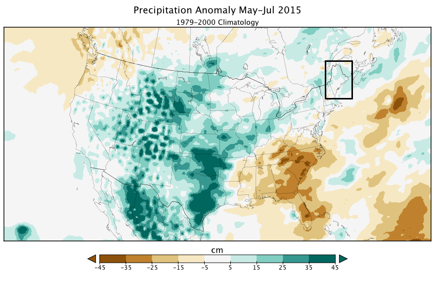 Precipitation anomoly May-July 2015 (1979-2000 Climatology)
