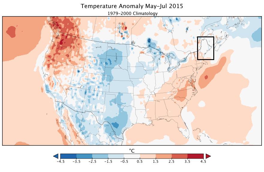 Temperature anomoly May-July 2015 (1979-2000 Climatology)