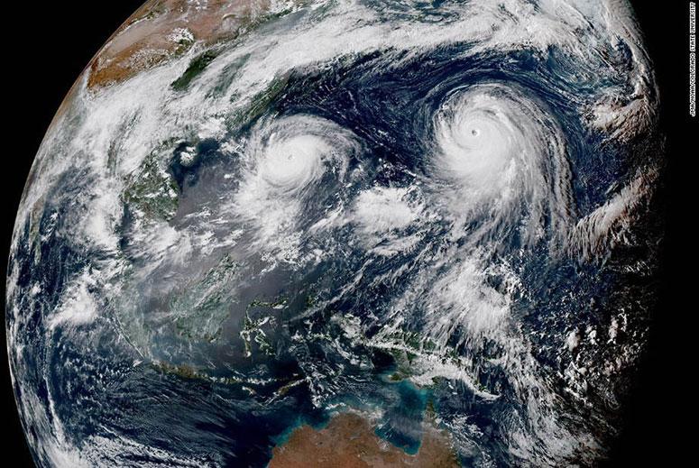satellite image showing typhoons