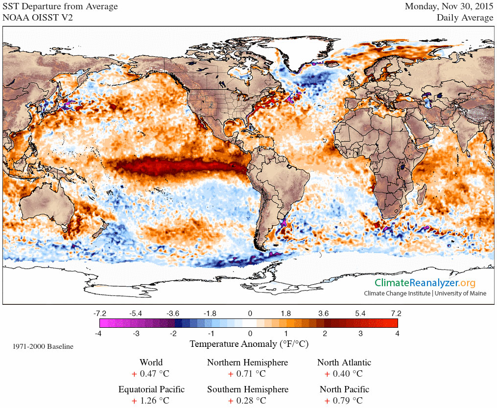 Figure 4. Sea surface temperature (SST) departure from normal (1971-2000 baseline) for November 30th, 2015. The broad area of warm SSTs in the equatorial Pacific is associated with El Niño. NOAA OISST data.