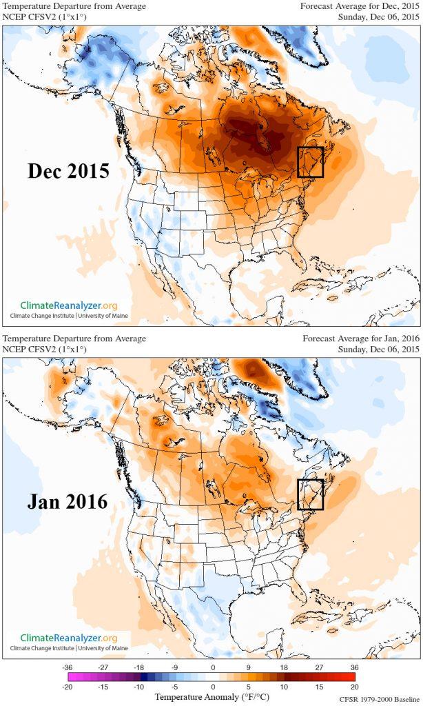 Departure from normal -- Dec 2015: 6-7C in Maine; Jan 2016: 0-4C in Maine