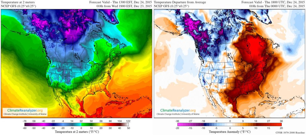 Side-by-side maps of North America showing temerature at 2 meters and temperature departure from average on Dec 24, 2015