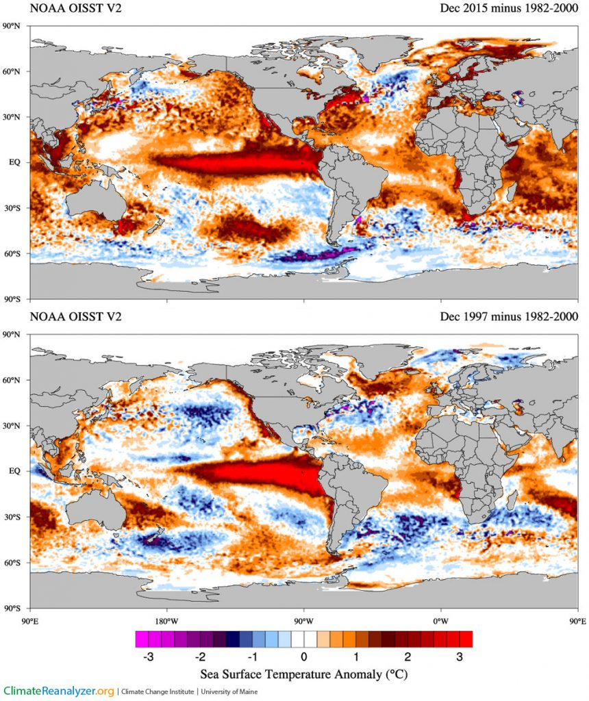 Map of the world showing sea surface temperature anomalies for Dec. 2015 minus 1982-2000 and Dec. 1997 minus 1982-2000; Y axis = 90°S to 50°N and X axis = 90°E to 90°E.